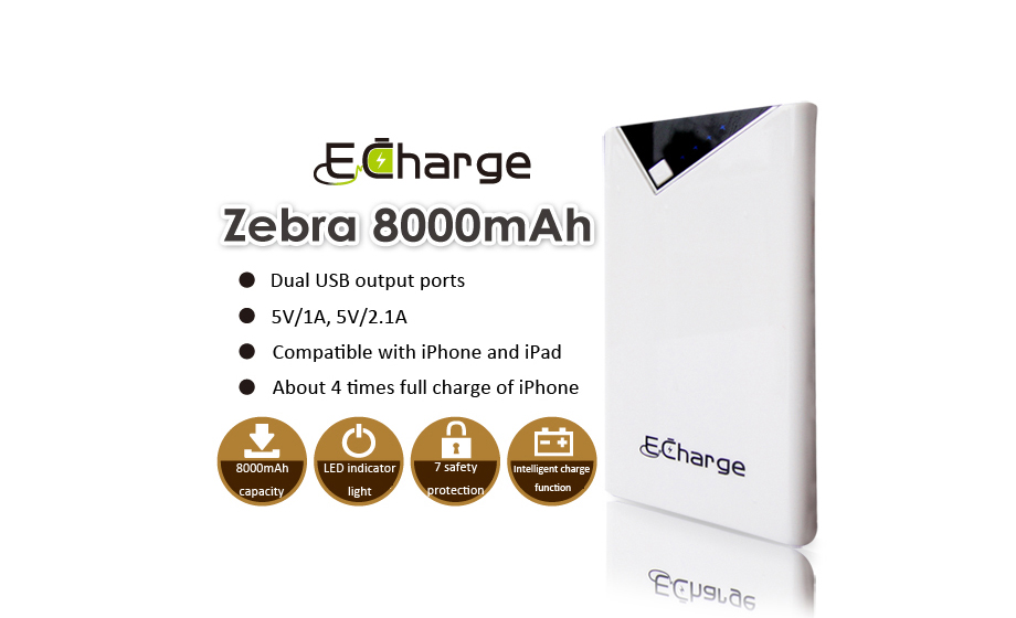 Power Bank E Charge zebra 8000